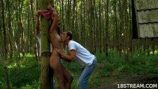 Trio en el bosque con una petarda inocente